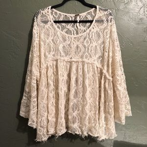 Free People Allover Crochet Bell Sleeve boho top